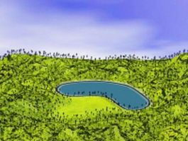 Lake and green hills 3d preview