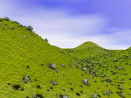 Green hills and mountains 3d preview