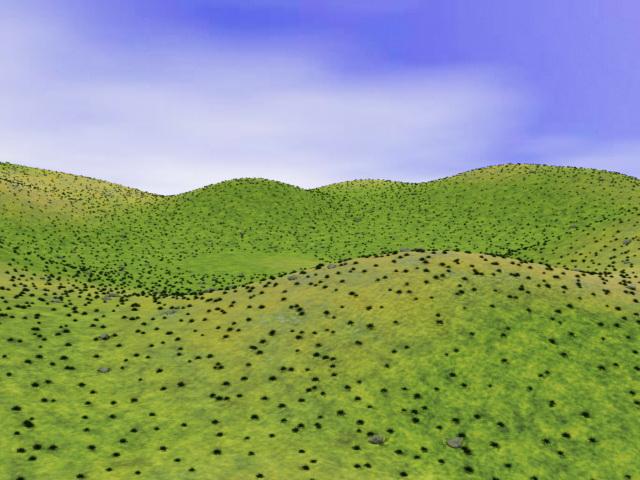 Grass hills 3d rendering