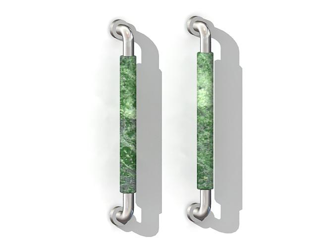 Marble door pull handles 3d rendering