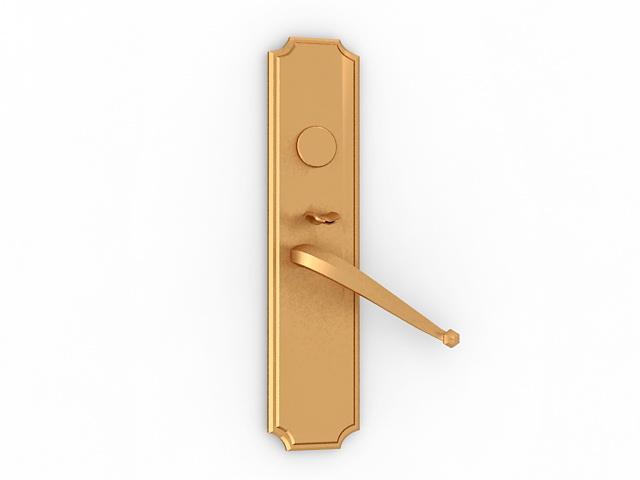 Brass lever door handle 3d rendering