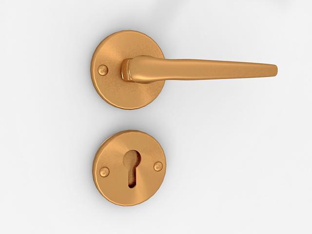 Door lever handle lock 3d rendering