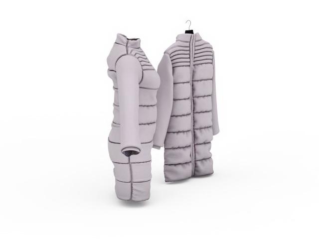 Long down coats 3d rendering