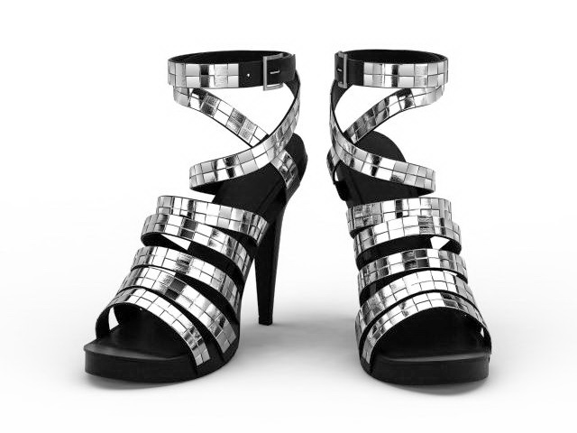 Spike heel gladiator sandals 3d rendering