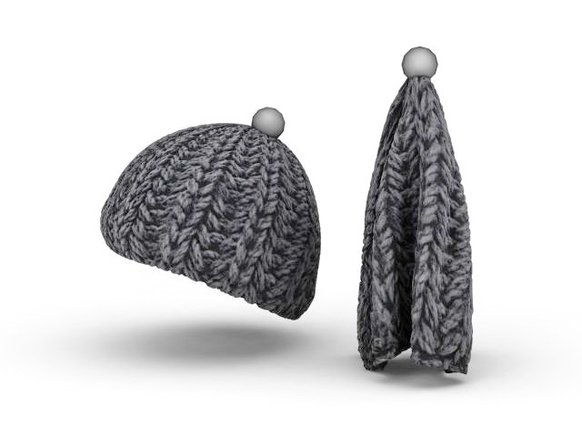 Wool knit hat 3d rendering