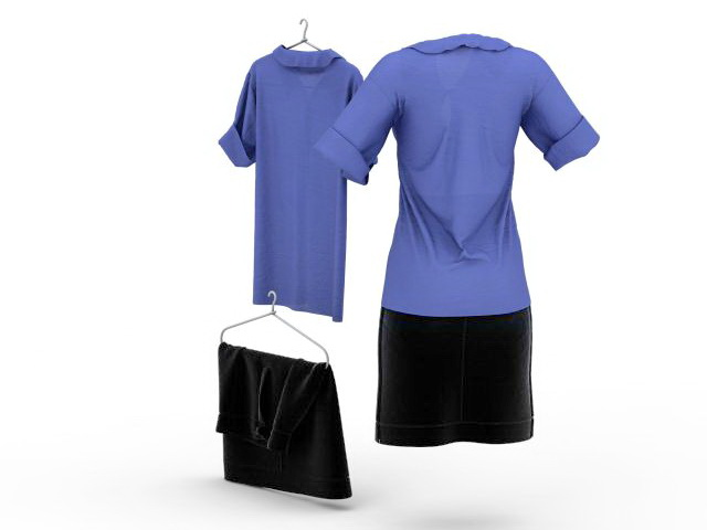 Shirt and pencil skirt outfits 3d rendering