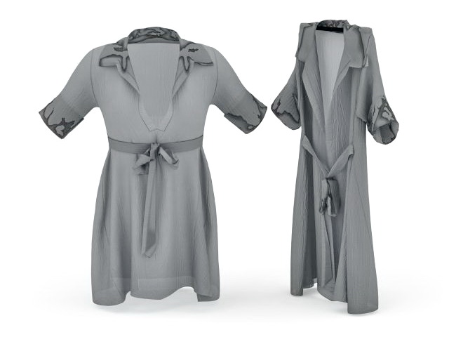 Satin nightgowns 3d rendering