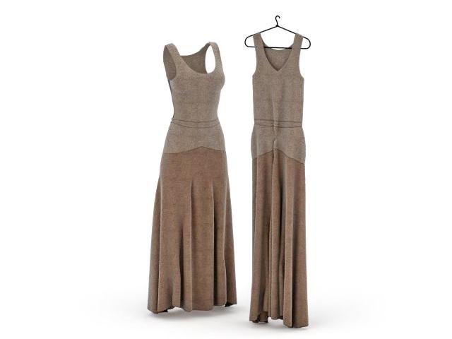 Long formal dress 3d rendering