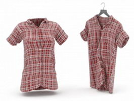 Red plaid shirt for women 3d preview