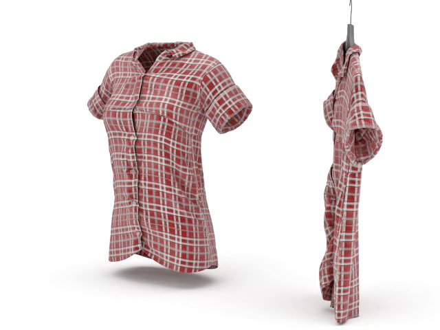 Red plaid shirt for women 3d rendering