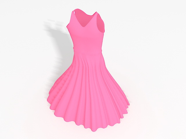 Pink prom dress 3d rendering