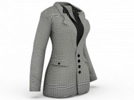 Women plaid blazers jacket 3d preview