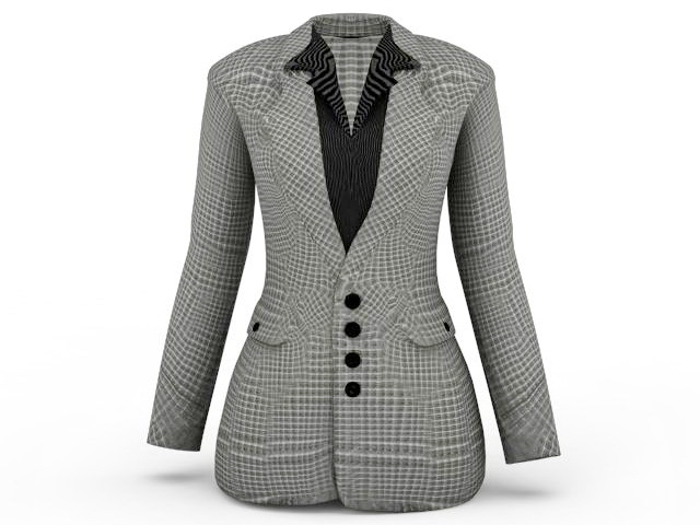 Women plaid blazers jacket 3d rendering