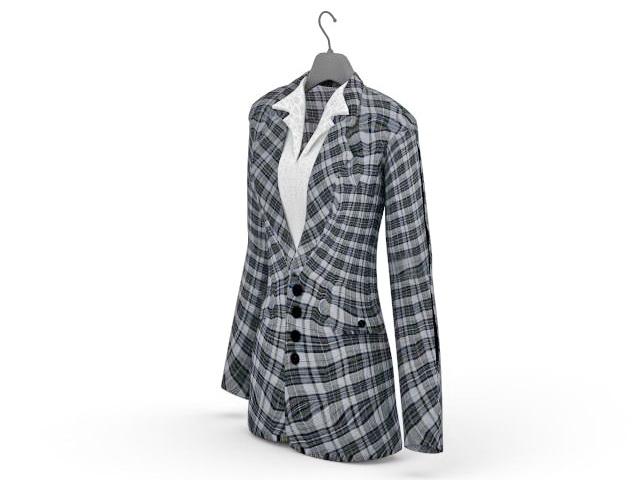 Plaid suit jacket 3d rendering