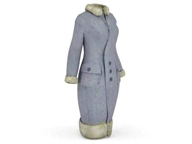 Fur winter coat 3d rendering