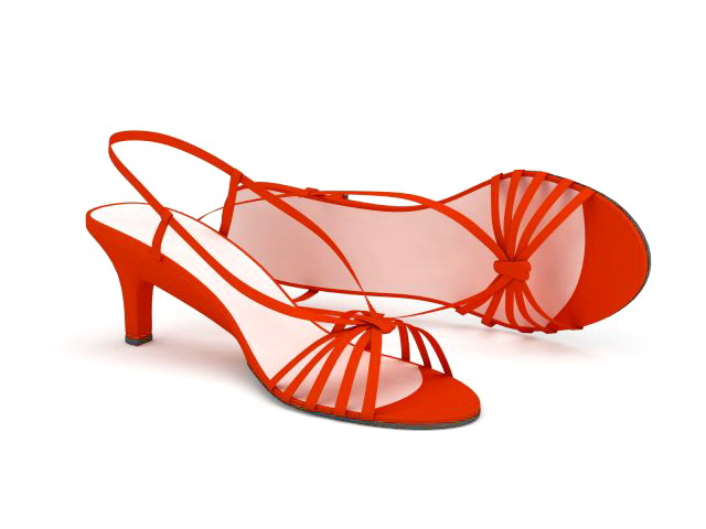 Spike heel red sandals 3d rendering