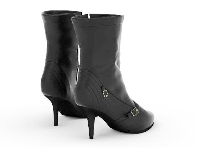 Spike heel short boot 3d rendering