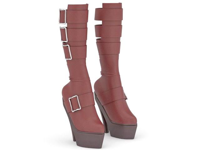 Red high heel boots 3d rendering