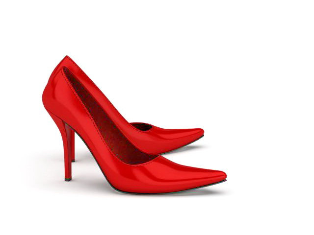 Red court shoes 3d rendering