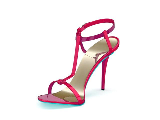 High heel strappy sandals 3d rendering