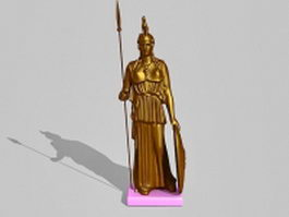 Brass Athena statue 3d preview