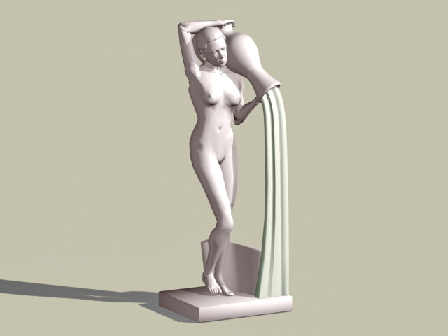Female sarden statue 3d rendering