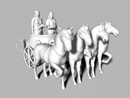 Roman horse chariot pulling 3d preview