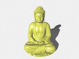 Japanese sitting buddha statue 3d preview