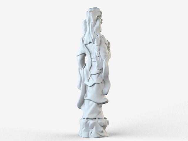 Buddhist goddess statue 3d rendering