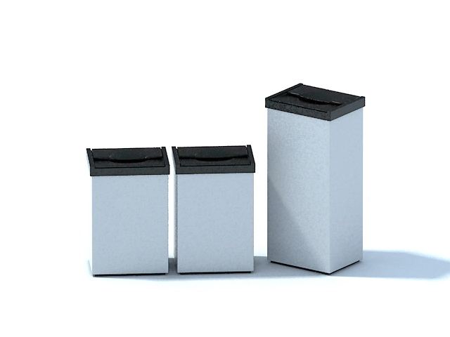 Indoor trash cans 3d rendering