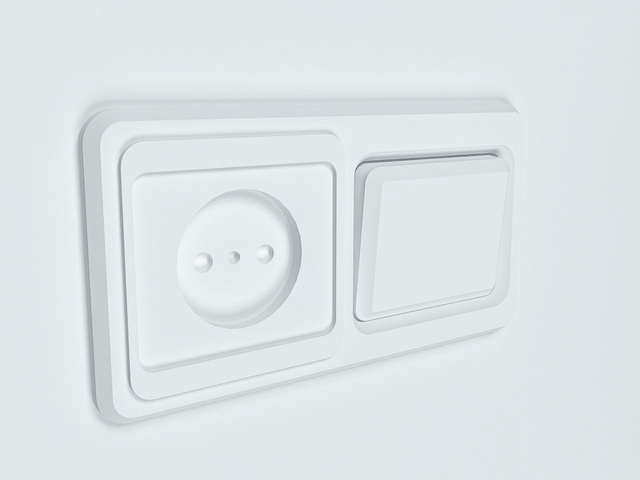 Rocker switch and outlet 3d rendering