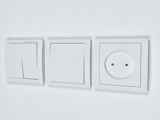 Electrical outlet light switch 3d rendering
