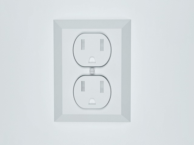 French power socket 3d rendering
