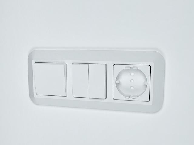Rocker light switch with socket 3d rendering