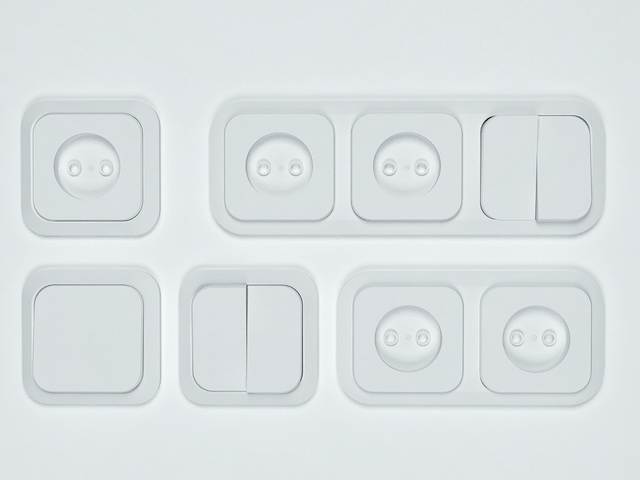 Light switches and sockets collection 3d rendering