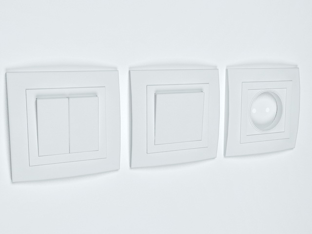 Rocker and pull switch 3d rendering