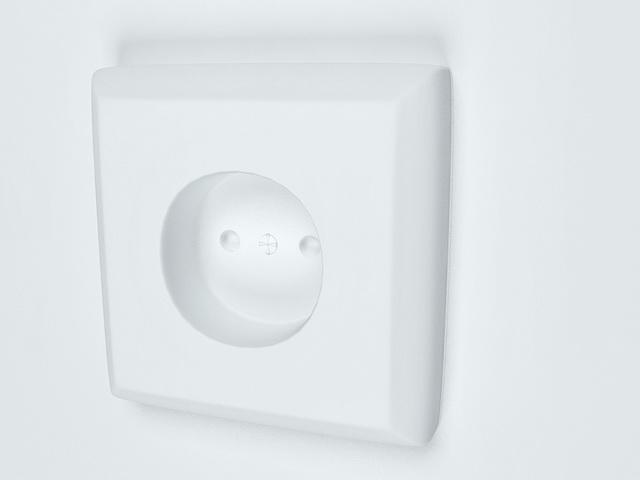 Electric wall wocket 3d rendering