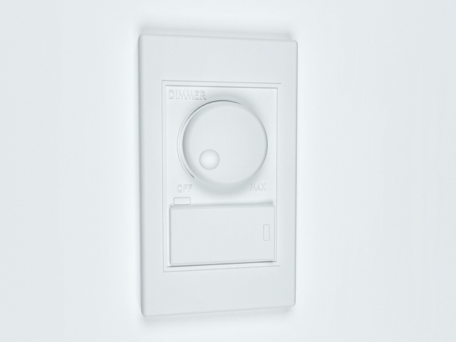 Light switches with dimmers 3d rendering