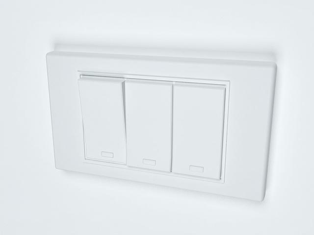 3-Way rocker light switch 3d rendering