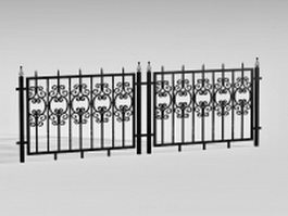 Antique wrought iron fence 3d preview