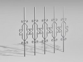 Metal fence components 3d preview