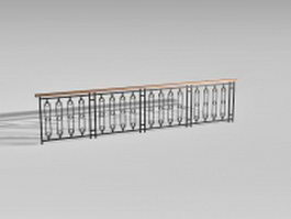Wrought iron fence for stairs 3d preview