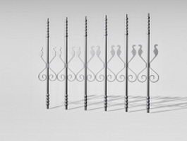 Wrought iron stair railing parts 3d preview