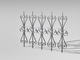 Wrought iron railing parts 3d preview