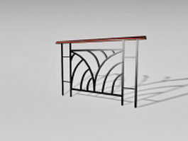 Black metal handrail 3d preview