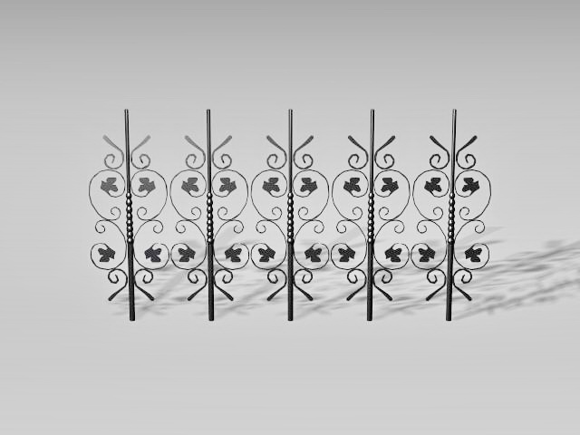 Decorative fence parts 3d rendering