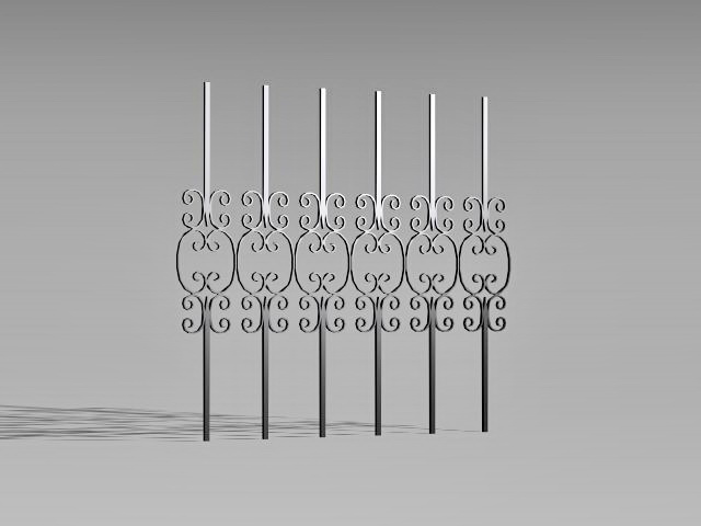 Iron railing fence parts 3d rendering