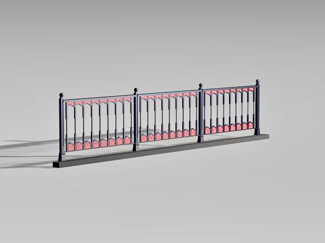 Vintage pedestrian guardrail 3d rendering