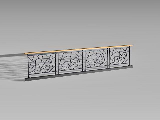 Metal deck railing panels 3d rendering