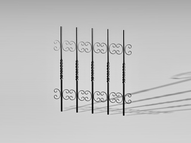 Ornamental wrought iron parts 3d rendering